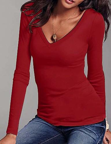 billige Dametopper-V-hals Store størrelser T-skjorte Dame - Ensfarget Grønn / Høst / Vinter