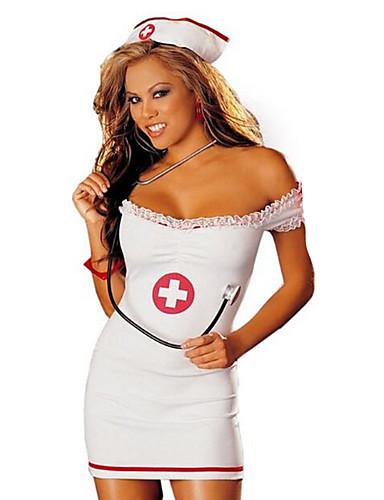 billige Sexy Uniformer-Dame karriere Kostymer Sykepleiere Hospitalsuniformer Kjønn Cosplay Kostumer Party-kostyme Fargeblokk Skjørte Hatt / Spandex