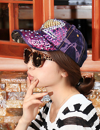 Da donna Molla Estate Denim Strass Romantico Da serata Casual Berretto con  visiera Cappello da sole 860a1473bad7