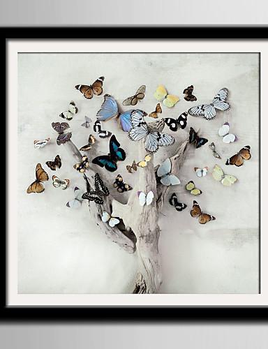 preiswerte Florale/botanische gerahmte Kunst-Gerahmtes Leinenbild Gerahmtes Set Tiere Blumenmuster/Botanisch Wandkunst, PVC Stoff Mit Feld Haus Dekoration Rand Kunst Wohnzimmer