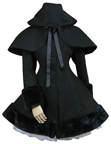 preiswerte Lolita Kleider-Prinzessin Sweet Lolita Winter Kappe Mantel Damen Mädchen Spitze Baumwolle Japanisch Cosplay Kostüme Übergrössen Kundenspezifische Schwarz Ballkleid Solide Langarm Mittlerer Länge