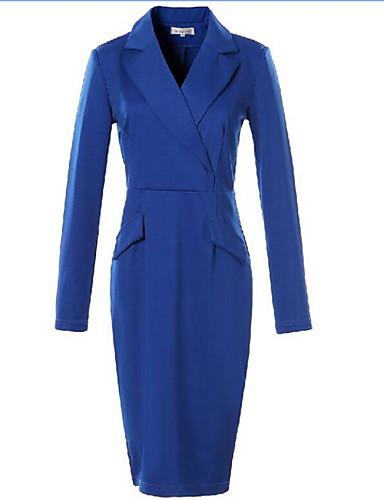 levne Pracovní šaty-Dámské Větší velikosti Bavlna Bodycon Šaty - Jednobarevné Nad kolena