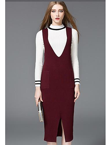 03ac1a52b669 Γυναικεία Καθημερινά Κομψό στυλ street Πλεκτά Φόρεμα