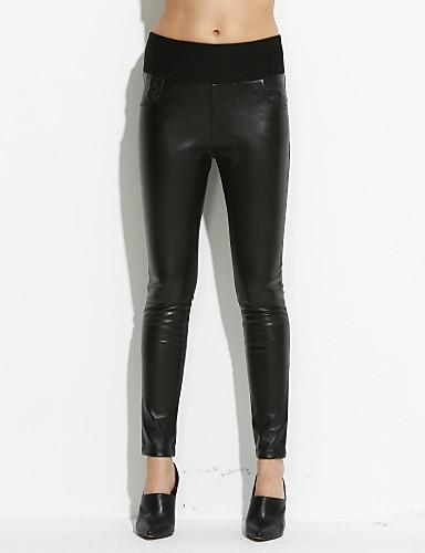2524d4f998e 38.56 dame tynde plus størrelser jeans bukser ensfarvet højtaljede pu  mikroelastis.