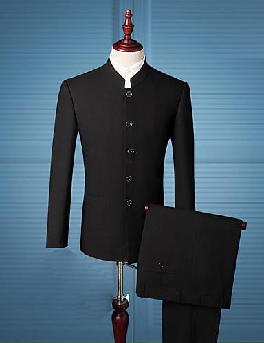 สำหรับผู้ชาย ทุกวัน / ทำงาน Chinoiserie ปกติ ชุด, สีพื้น คอแสตนด์ / ปกคอแบะของเสื้อแบบน็อตช์ แขนยาว ไหมสังเคราะห์ สีดำ