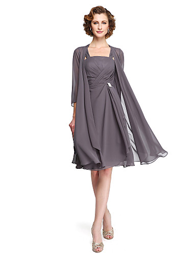 voordelige Wrap Dresses-A-lijn hihnat Tot de knie Chiffon Bruidsmoederjurken met Kralen / Kruiselings door LAN TING BRIDE®