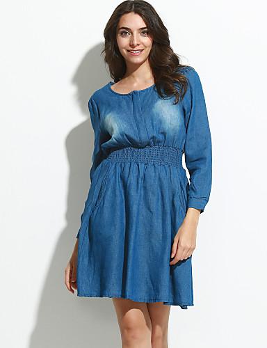 preiswerte Jeansmode-Damen Lantern Sleeve A-Linie Kleid - Gerüscht, Solide Übers Knie