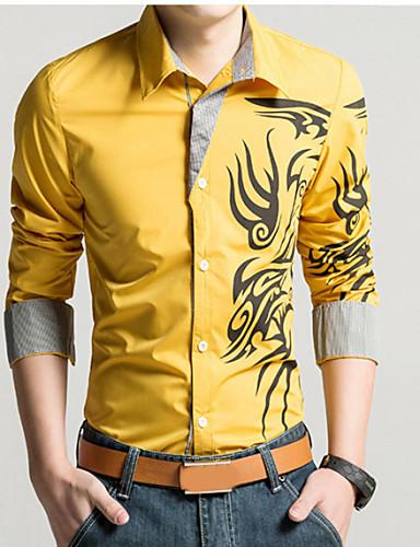 levne Pánské košile-Pánské - Geometrický / Etno Vintage Větší velikosti Košile, Tisk Klasický límeček Štíhlý Červená / Dlouhý rukáv / Jaro / Podzim
