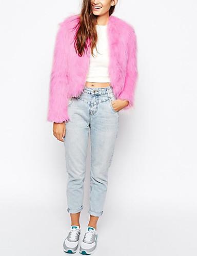 Γυναικεία Γούνινο παλτό Καθημερινά Απλό Μονόχρωμο 8a526b37441