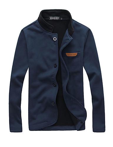 preiswerte Ausverkauf-Herrn Alltag Frühling / Herbst Standard Jacke, Solide Ständer Langarm Schwarz / Grau / Blau