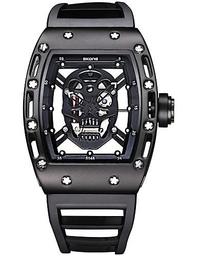 SKONE สำหรับผู้ชาย นาฬิกาแนวสปอร์ต นาฬิกาเห็นกลไกจักรกล นาฬิกาข้อมือ นาฬิกาอิเล็กทรอนิกส์ (Quartz) ยางทำจากซิลิคอน ดำ / ฟ้า / แดง 30 m กันน้ำ เรืองแสง ระบบอนาล็อก / สองปี / สองปี / Maxell SR626SW