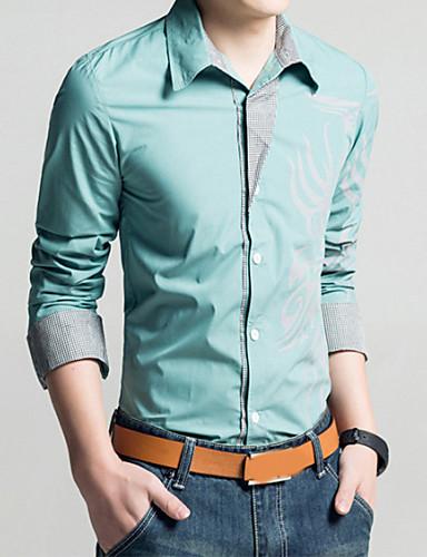 cheap Men's Shirts-Men's Plus Size Geometric Tribal Print Slim Shirt Vintage Daily Classic Collar White / Black / Purple / Yellow / Red / Light Green / Navy Blue / Light Blue / Spring / Fall / Long Sleeve
