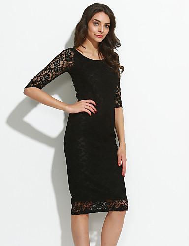 levne Sexy šaty-Dámské Jdeme ven Sofistikované Bodycon Krajka Šaty - Jednobarevné Délka ke kolenům Černá