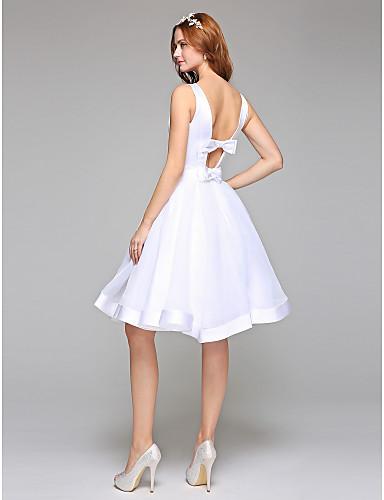 bbf1b352f1ef Γραμμή Α Bateau Neck Μέχρι το γόνατο Οργάντζα   Σατέν Φορέματα γάμου  φτιαγμένα στο μέτρο με Φιόγκος   Ζώνη   Κορδέλα με LAN TING BRIDE® 5522122  2019 – ...