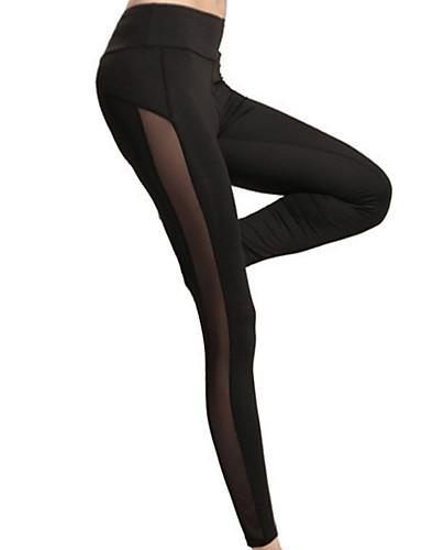 สำหรับผู้หญิง Sexy เย็บลูกไม้ ที่ปกคลุมขา - สีพื้น, ตารางไขว้ ข้อมือระดับกลาง สีดำ M L XL / สกินนี่