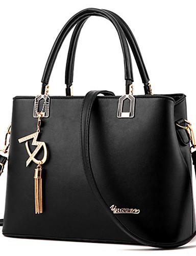 preiswerte Elegante Damen-Handtaschen-Damen Perlenstickerei / Metallic PU Tragetasche / Reisverschluss Solide Schwarz / Wein / Weiß