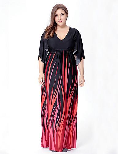levne Šaty velkých velikostí-Dámské Větší velikosti Cikánský Swing Šaty - Abstraktní, Tisk Maxi Do V