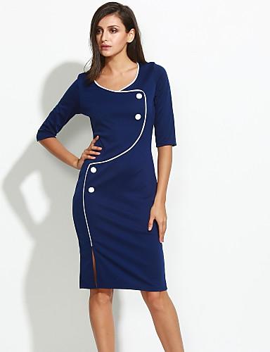 levne Pracovní šaty-Dámské Větší velikosti Práce Bavlna Bodycon Šaty - Jednobarevné Délka ke kolenům Modrá / Štíhlý