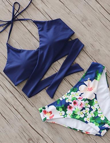 billige Dametopper-Dame Blomstret Blomster Solid Sport Grime Rosa Navyblå Vin Bikini Badetøy - Blomstret Trykt mønster M L XL Rosa / Sexy