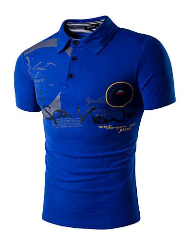 levne Pánská polo trika-Pánské - Písmeno Sport Aktivní Polo, Tisk Košilový límec Štíhlý Bílá / Krátký rukáv / Léto