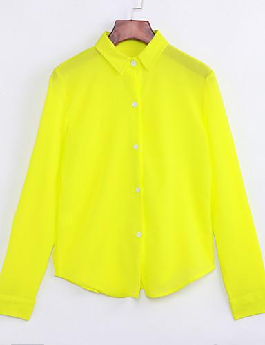 billige Skjorter til damer-Skjortekrage Skjorte Dame - Ensfarget Gul / Høst