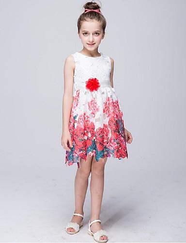 a-line knä längd blomma flicka klänning - polyester ärmlös nacke hals med  mönster   tryck av ydn 5562000 2019 –  29.99 484a51831d720