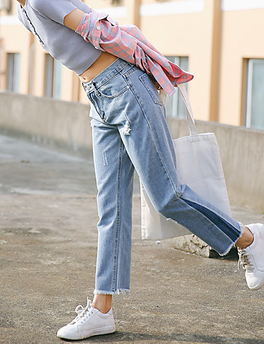[$14 99] Sign 2017 spring new spot burr side stitching denim trousers  pantyhose