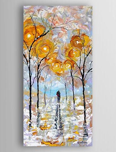 preiswerte Abstrakte Landschaftsbilder-Handgemalte Abstrakt Abstrakte Landschaft Vertikal,Modern Ein Panel Leinwand Hang-Ölgemälde For Haus Dekoration