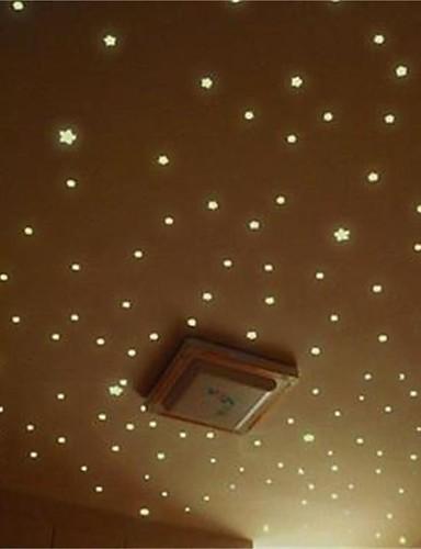 preiswerte Landschafts Wand Sticker-76 sterne / 1 satz wandaufkleber aufkleber im dunkeln leuchten baby kinder schlafzimmer wohnkultur farbe sterne leuchtende fluoreszierende wandaufkleber