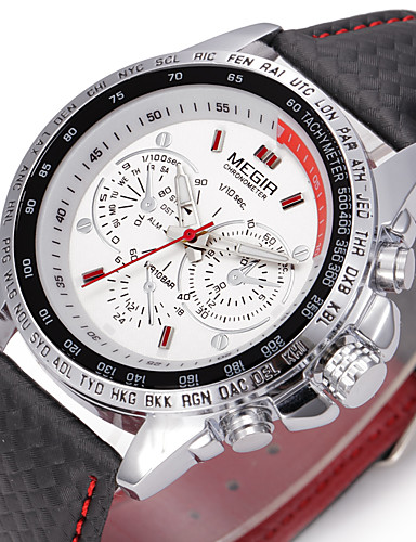 preiswerte MEGIR®-MEGIR Herrn Uhr Sportuhr Armbanduhr Japanischer Quartz Echtes Leder Mehrfarbig 30 m Armbanduhren für den Alltag Analog Charme Luxus Klassisch Freizeit Modisch Weiß Schwarz / Zwei jahr / Zwei jahr