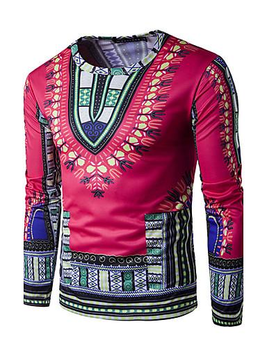 voordelige Heren T-shirts & tanktops-Heren Actief / Boho / overdreven Print T-shirt Sport Tribal Ronde hals Geel / Lange mouw / Lente / Herfst
