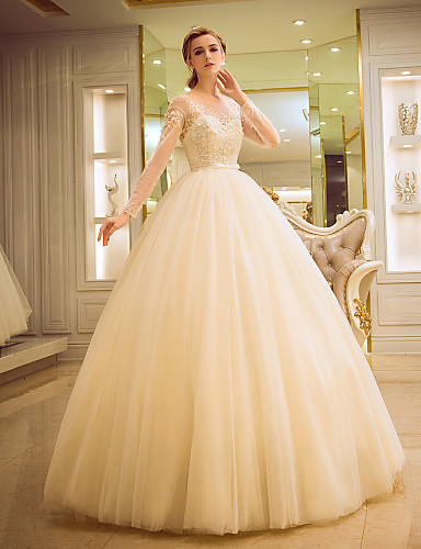 Ball Gown Illusion Neckline Floor Length Tulle Wedding Dress By Yuanfeishani 5560228 2018 22499