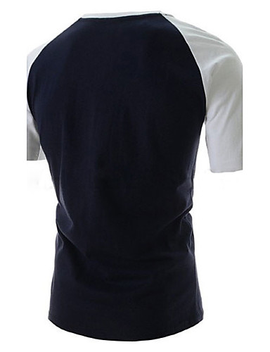 levne Pánská tílka-Pánské - Písmeno Sport Tričko, Tisk Bavlna Kulatý Bílá / Krátký rukáv