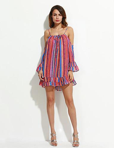 levne Sexy šaty-Dámské Dovolená Plážové Cikánský Volné Šifón Šaty - Proužky, Volány Tisk Mini Pod rameny