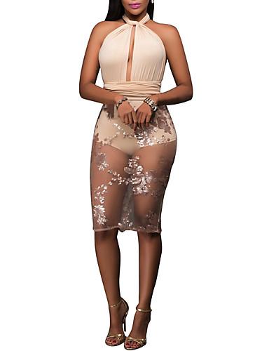 رخيصةأون فساتين للنساء-فستان نسائي ضيق بدون ظهر ترتر طول الركبة بقع قبة مرتفعة حول الرقبة نادي / ظهر مفتوح