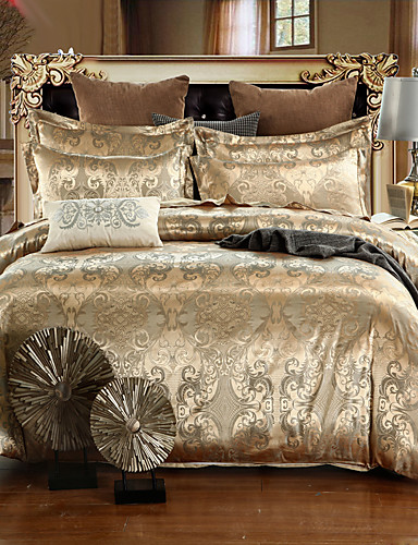 cheap Bedding Sets-Duvet Cover Sets Luxury Silk / Cotton Jacquard 4 Piece Bedding Set With Pillowcase Bed Linen Sheet Single Double Queen King Size Quilt Covers Bedclothes