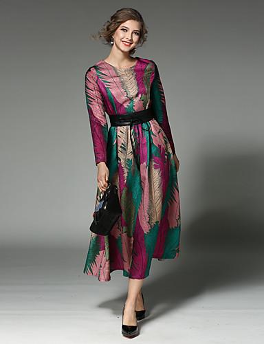 preiswerte MAXLINDY®-Damen Festtage / Ausgehen Retro / Street Schick / Anspruchsvoll Baumwolle Schlank Swing Kleid Patchwork Midi