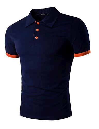 voordelige Uitverkoop-Heren Actief Standaard Polo Sport Effen Overhemdkraag Slank Zwart & Rood Rood / Korte mouw / Zomer