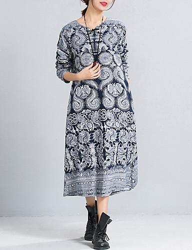 1477018fdd82 Γυναικεία Βίντατζ Βαμβάκι   Λινό Φαρδιά Φόρεμα - Λαχούρι