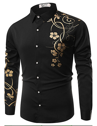 cheap White Shirts-Men's Daily Shirt Floral Print Long Sleeve Slim Tops Vintage Classic Collar White Black Royal Blue / Spring / Fall