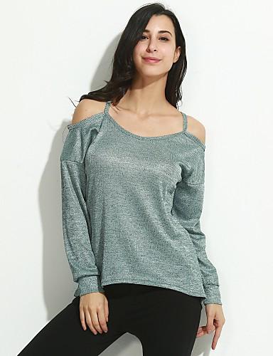 billige T-skjorter til damer-Bomull Bluse Dame - Ensfarget, Utskjæring Grunnleggende Grå / Sommer / Høst / Sexy