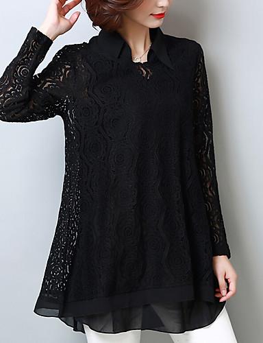 billige Topper til damer-Skjortekrage Store størrelser Bluse Dame - Ensfarget Gatemote / Chinoiserie Ut på byen / Arbeid Blå / Sommer / Blonder