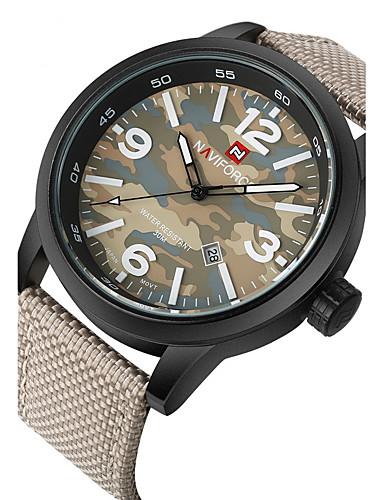 5c61a381a0cf4 NAVIFORCE Homens Relógio Esportivo Relógio Militar Relógio de Pulso Quartzo  Preta   Verde   Bege 30 m Impermeável Calendário Legal Analógico Cinzento  ...