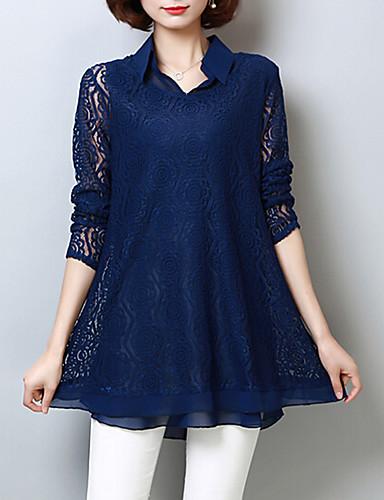billige Dametopper-Skjortekrage Store størrelser Bluse Dame - Ensfarget Gatemote / Chinoiserie Ut på byen / Arbeid Blå / Sommer / Blonder