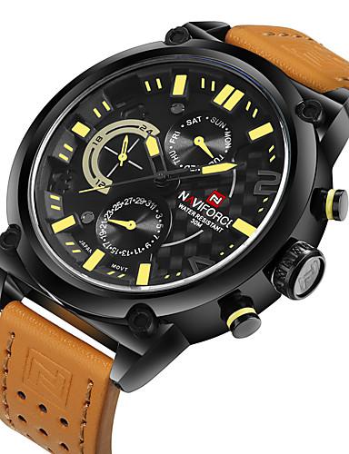 NAVIFORCE สำหรับผู้ชาย นาฬิกาแนวสปอร์ต นาฬิกาทหาร นาฬิกาข้อมือ นาฬิกาอิเล็กทรอนิกส์ (Quartz) นาฬิกาควอตซ์ญี่ปุ่น หนัง ดำ / ออเรนจ์ 30 m กันน้ำ ปฏิทิน เท่ห์ ระบบอนาล็อก ความหรูหรา - สีดำ ส้ม แดง
