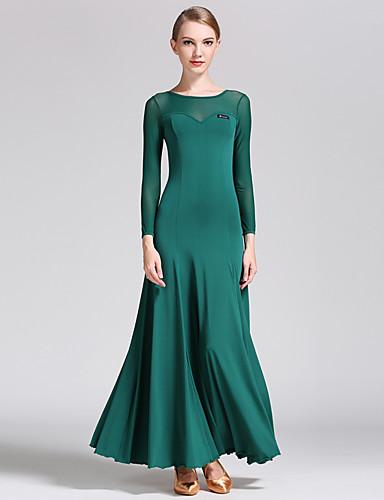 preiswerte Tanzkleidung für den Ballsaal-Für den Ballsaal Kleider Damen Leistung Tüll / Milchfieber Drapiert Langarm Normal Kleid