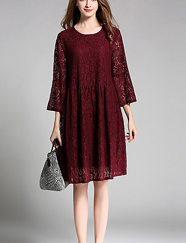 b5d00acba11 Women s Lace Holiday   Going out   Plus Size Simple   Vintage Flare Sleeve  Loose   Lace Dress - Jacquard Lace   Cut Out Spring Cotton Brown Wine  5543239 ...