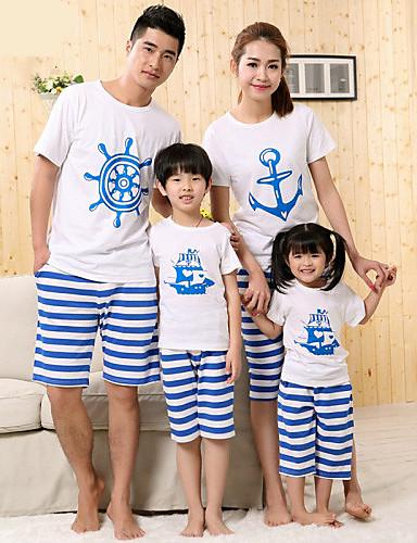 preiswerte Ausverkauf-Gestreift Kurzarm Standard Baumwolle T-Shirt Weiß