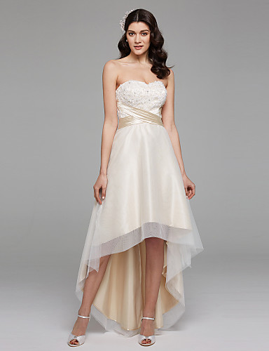 cheap Wedding Dresses-A-Line Sweetheart Neckline Asymmetrical Satin / Floral Lace Strapless Simple Plus Size Wedding Dresses with Bowknot / Sash / Ribbon / Beading 2020