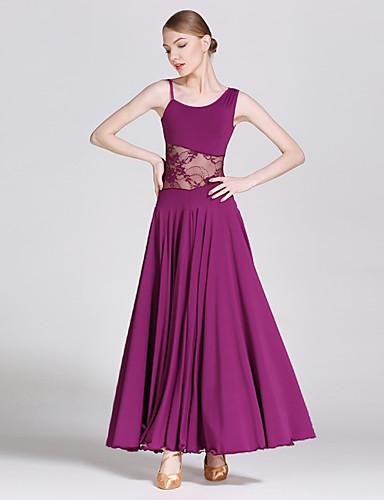cheap Ballroom Dancewear-Ballroom Dance Dresses Women's Elastic Woven Satin / Modern Dance